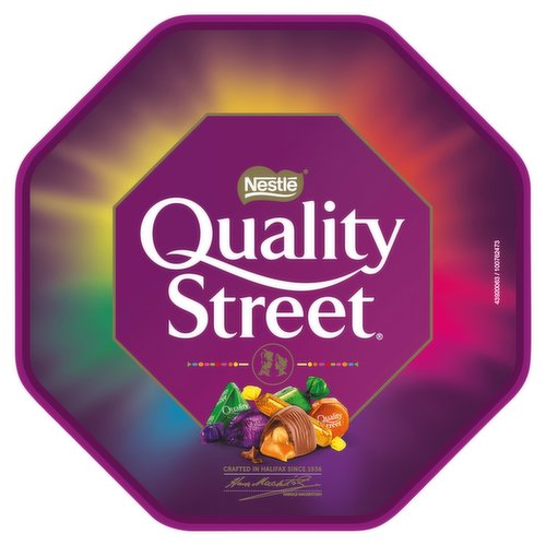 Assorted milk and dark chocolates and toffees.<br/><br/><b>Further Description</b><br/>Remember to enjoy chocolate as part of a varied, balanced diet and healthy lifestyle. Quality Street® is suitable for vegetarians. The chocolate used in Quality Street® has been produced under The Nestlé Cocoa Plan™, which works with UTZ Certified to support cocoa farmers for better chocolate.<br/> www.qualitystreet.co.uk<br/> www.nestlecocoaplan.com<br/><br/><b>Features</b><br/>A variety of your favourite iconic individually wrapped sweets<br/>Delicious milk and dark chocolates, toffees, and fruit cremés<br/>Perfect for sharing at Christmas and other celebrations<br/>No artificial colours, flavours or preservatives<br/>Includes the famous Green Triangle and The Purple One<br/><br/><b>Lifestyle</b><br/>Suitable for Vegetarians<br/><br/><b>Pack Size</b><br/>650g ℮<br/><br/><b>Allergy Advice</b><br/>Hazelnuts - Contains<br/>Milk - Contains<br/>Nuts - May Contain<br/>Peanuts - May Contain<br/><br/><b>Usage Other Text</b><br/>Contains approximately 33 servings<br/><br/><b>Usage Count</b><br/>Number of uses - Servings - 33<br/><br/><b>Recycling Info</b><br/>Foil - Recyclable<br/>Lid - Recyclable<br/>Tub - Recyclable<br/>Wrap - Not Recyclable<br/><br/><b>Ingredients</b><br/>Sugar<br/>Glucose Syrup<br/>Sweetened Condensed Skimmed <span style='font-weight: bold;'>Milk</span> (Skimmed <span style='font-weight: bold;'>Milk</span> Powder, Sugar)<br/>Vegetable Fats (Palm, Shea, Rapeseed, Sunflower, Mango Kernel, Sal, Coconut)<br/>Cocoa Mass<br/>Cocoa Butter<br/>Dried Whole <span style='font-weight: bold;'>Milk</span><br/>Glucose-Fructose Syrup<br/>Coconut<br/>Lactose and Proteins from Whey (from <span style='font-weight: bold;'>Milk</span>)<br/>Whey Powder (from <span style='font-weight: bold;'>Milk</span>)<br/>Butterfat (from <span style='font-weight: bold;'>Milk</span>)<br/><span style='font-weight: bold;'>Hazelnuts</span><br/>Butter (from <span style='font-weight: bold;'>Milk</span>)<br/>E