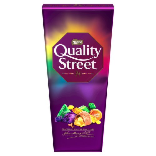 Assorted milk and dark chocolates and toffees.<br/><br/><b>Further Description</b><br/>Remember to enjoy chocolate as part of a varied, balanced diet and healthy lifestyle.<br/> Quality Street® is suitable for vegetarians.<br/> The chocolate used in Quality Street® has been produced under The Nestlé Cocoa Plan™, which works with UTZ Certified to support cocoa farmers for better chocolate.<br/> www.qualitystreet.co.uk<br/> www.facebook.com/qualitystreet<br/> www.nestlecocoaplan.com<br/> www.twitter.com/qualitystreetuk<br/><br/><b>Features</b><br/>A variety of your favourite iconic individually wrapped sweets<br/>Delicious milk and dark chocolates, toffees, and fruit cremés<br/>Perfect for sharing at Christmas and other celebrations<br/>No artificial colours, flavours or preservatives<br/>Includes the famous Green Triangle and The Purple One<br/><br/><b>Lifestyle</b><br/>Suitable for Vegetarians<br/><br/><b>Pack Size</b><br/>232g ℮<br/><br/><b>Allergy Advice</b><br/>Hazelnuts - Contains<br/>Milk - Contains<br/>Nuts - May Contain<br/>Peanuts - May Contain<br/><br/><b>Usage Other Text</b><br/>Contains approximately 12 servings<br/><br/><b>Usage Count</b><br/>Number of uses - Servings - 12<br/><br/><b>Recycling Info</b><br/>Carton - Recyclable<br/>Foil - Recyclable<br/>Wrap - Not Recyclable<br/><br/><b>Ingredients</b><br/>Sugar<br/>Glucose Syrup<br/>Sweetened Condensed Skimmed <span style='font-weight: bold;'>Milk</span> (Skimmed <span style='font-weight: bold;'>Milk</span> Powder, Sugar)<br/>Vegetable Fats (Palm, Shea, Rapeseed, Sunflower, Mango Kernel, Sal, Coconut)<br/>Cocoa Mass<br/>Cocoa Butter<br/>Dried Whole <span style='font-weight: bold;'>Milk</span><br/>Glucose-Fructose Syrup<br/>Coconut<br/>Lactose and Proteins from Whey (from <span style='font-weight: bold;'>Milk</span>)<br/>Whey Powder (from <span style='font-weight: bold;'>Milk</span>)<br/>Butterfat (from <span style='font-weight: bold;'>Milk</span>)<br/><span style='font-weight: bold;'>Hazelnuts</span><br/