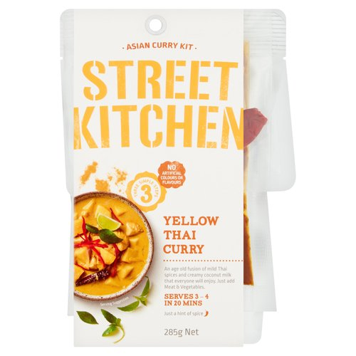 Yellow Thai Curry<br/><br/><b>Features</b><br/>Threes Simple Steps<br/>Serves 3 - 4 in 20 Mins<br/>Just a hint of spice - 1<br/>Also Great with Beef Seafood or Vegetables<br/>No Artificial Colours or Flavours<br/><br/><b>Pack Size</b><br/>285g ℮<br/><br/><b>Allergy Advice</b><br/>Fish - Contains<br/>Cereals Containing Gluten - May Contain<br/><br/><b>Usage Other Text</b><br/>Servings per package: 4, Serving size: 71g<br/><br/><b>Usage Count</b><br/>Number of uses - Servings - 4<br/><br/><b>Ingredients</b><br/>Coconut Milk (70%) [Coconut Extract, Water, Sugar, Vegetable Gum (Xanthan), Salt]<br/>Water<br/>Sugar<br/><span style='font-weight: bold;'>Fish</span> Sauce (<span style='font-weight: bold;'>Anchovy Fish</span>, Salt, Sugar, Water)<br/>Onion<br/>Garlic<br/>Sunflower Oil<br/>Lemongrass Puree<br/>Salt<br/>Kaffir Lime Leaves<br/>Coriander Puree<br/>Spices<br/>Red Chilli<br/>Corn Starch<br/>Natural Flavours<br/>White Vinegar<br/>Vegetable Powders<br/>Red Chilli Puree<br/>Vegetable Gum (Xanthan)<br/>Food Acid (Citric)<br/>Herb & Spice Extracts<br/>Natural Colours (Paprika Extracts, Curcumin)<br/><br/><b>Allergy Advice</b><br/>For allergens see ingredients in <span style='font-weight: bold;'>bold</span>.<br/><br/><br/><b>Allergy Text</b><br/><span style='font-weight: bold;'>Contains Fish.May contain Gluten</span>.<br/><br/><br/><b>Storage Type</b><br/>Ambient<br/><br/><b>Storage</b><br/>Store unopened in a cool dry location.<br/><br/><b>Preparation and Usage</b><br/>You Will Need<br/> - 250g Diced Chicken<br/> - 2 Medium Potatoes, Diced<br/> - 1 Small Onion, Sliced<br/> - 1/2 Cup (125mL) Water<br/> - 2 Cups Jasmine Rice<br/> <br/> Cooking Instructions<br/> 1 Sear: Flash fry spices from the pack in a hot and well-oiled medium size saucepan for 5 seconds. Add chicken and fry for 3 minutes or until well seared. Add vegetables and fry for a further 2 minutes.<br/> 2 Cook: Add Yellow Thai Curry paste to saucepan then immediately add coconut milk and 1/2 cup of water. Stir