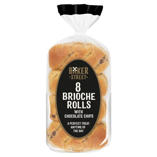 8 Brioche Rolls with Chocolate Chips<br/><br/><b>Features</b><br/>A Perfect Treat Anytime of the Day<br/>Just Everything We Need to Make Delicious<br/>Suitable for Vegetarians<br/><br/><b>Lifestyle</b><br/>Suitable for Vegetarians<br/><br/><b>Allergy Advice</b><br/>Eggs - Contains<br/>Wheat - Contains<br/>Milk - Contains<br/><br/><b>Usage Other Text</b><br/>This pack contains 8 servings<br/><br/><b>Usage Count</b><br/>Number of uses - Servings - 8<br/><br/><b>Recycling Info</b><br/>Film - Not Yet Recycled<br/>Tag - Not Yet Recycled<br/><br/><b>Ingredients</b><br/><span style='font-weight: bold;'>Wheat</span> Flour<br/>Water<br/>Chocolate Chips (10%) (Sugar, Cocoa Mass, Cocoa Butter, Emulsifier: Sunflower Lecithins; Flavouring)<br/>Sugar<br/><span style='font-weight: bold;'>Egg</span><br/>Vegetable Fat (Palm, Rapeseed, Coconut)<br/><span style='font-weight: bold;'>Wheat</span> Fibre<br/>Yeast<br/>Emulsifiers (Mono- and Diglycerides of Fatty Acids, Mono- and Diacetyl Tartaric Acid Esters of Mono- and Diglycerides of Fatty Acids, Sodium Stearoyl-2-Lactylate)<br/><span style='font-weight: bold;'>Wheat</span> Gluten<br/>Dried Skimmed <span style='font-weight: bold;'>Milk</span><br/>Modified Corn Starch<br/>Salt<br/>Flavourings (contains <span style='font-weight: bold;'>Milk</span> and <span style='font-weight: bold;'>Wheat</span>)<br/>Preservatives (Sorbic Acid, Calcium Propionate)<br/>Antioxidant (Ascorbic Acid)<br/>Colour (Carotenes)<br/><br/><b>Allergy Advice</b><br/>For allergens, including Cereals containing Gluten, see ingredients in <span style='font-weight: bold;'>bold</span>.<br/><br/><br/><b>Number of Units</b><br/>8<br/><br/><b>Safety Warning</b><br/>SAFETY FIRST PLEASE: To avoid danger of suffocation please keep this wrapper away from babies and children.<br/><br/><b>Storage Type</b><br/>Ambient<br/><br/><b>Storage</b><br/>Store in a Cool, Dry Place.<br/> And Once Opened... To Keep this Product at its Best Reseal Between Uses.<br/> For Best Before: Please See
