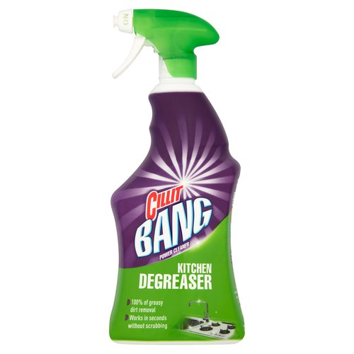 """Power Cleaner Kitchen Degreaser.<br/><br/><b>Further Description</b><br/>www.cleanright.eu<br/> <br/> www.rbeuroinfo.com<br/><br/><b>Features</b><br/>100% of greasy dirt removal<br/>Works in seconds without scrubbing<br/><br/><b>Pack Size</b><br/>750ml ℮<br/><br/><b>Ingredients</b><br/>Contains less than 5% anionic surfactant<br/>Perfume<br/>Contains Linalool<br/><br/><b>Safety Warning</b><br/>PRECAUTION FOR USE<br/> CAUTION: CILLIT BANG Power Cleaner Kitchen Degreaser should not be used on these surfaces: Wooden surfaces, Hot or damaged surfaces, Vinyl surfaces, Satinated fittings, Linoleum, Textiles and carpets, Rubber, Etched/matt glass, vitroceramic surfaces, halogen hobs. Always test on an inconspicuous area before use to ensure compatibility with surface. For surfaces that come into contact directly with food, use only on hard non-porous surfaces and rinse with water thoroughly.<br/> <br/> WARNING<br/> CILLIT BANG Power Cleaner Kitchen Degreaser. Causes serious eye irritation. If medical advice is needed, have product container or label at hand. Keep out of reach of children. Read label before use. Wash hands thoroughly after handling. Wear eye protection. IF IN EYES: Rinse cautiously with water for several minutes. Remove contact lenses, if present and easy to do. Continue rinsing. IF eye irritation persists: Get medical attention. Do not mix with other household or bleach products. Store bottle in an upright position.<br/><br/><b>Storage Type</b><br/>Ambient<br/><br/><b>Preparation and Usage</b><br/>3 Steps to Remove Dirt:<br/> 1. Turn nozzle to """"On"""" position.<br/> 2. Spray foam onto surface and leave to act for a few seconds.<br/> 3. Clean, wipe and rinse<br/> <br/> For tough dirt leave for a maximum of 5 minutes and use a scourer<br/> <br/> Ideal for: Dishes, Plates, Oven Hobs, Saucepan and Stoves, Worktops, Refrigerators, Stainless Steel, Tiles, Grills, Cabinets + Doors, Home Appliances, Cooker Hood, Metallic Blinds, Rubbish Bins, Garden Furniture, Bicycl"""