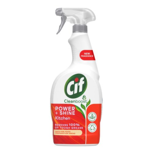 <b>Features</b><br/>Cif Power & Shine Kitchen Spray cuts through tough grease and grime on kitchen surfaces<br/>Cif Power & Shine Kitchen Spray is safe for food preparation areas and suitable for cleaning ceramic, chrome, and enamel surfaces<br/>Enriched with orange and tangerine oils, our cleaning spray quickly lifts away 100% of tough grease, leaving surfaces sparkling with a zesty finish<br/>Our kitchen degreaser has a 100% biodegradable fragrance, so there will be no harsh smells left behind<br/>Cif Power & Shine Kitchen Cleaner Spray leaves your kitchen surfaces with a 100% streak-free shine<br/>Reuse your cleaning spray bottle for life with Cif ecorefills<br/><br/><b>Pack Size</b><br/>700millilitre ℮<br/><br/><b>Ingredients</b><br/><5 % Non-ionic Surfactant, Perfume, Limonene, Phenoxyethanol<br/><br/><b>Safety Warning</b><br/>Keep out of reach of children. IF IN EYES: Rinse cautiously with water for several minutes. Remove contact lenses, if present and easy to do. Continue rinsing. If eye irritation persists: Get medical advice/attention.<br/> WARNING<br/> Causes serious eye irritation.<br/> WARNING<br/> Causes serious eye irritation.<br/><br/><b>Storage Type</b><br/>Ambient<br/><br/><b>Preparation and Usage</b><br/>For beautiful cleaning results every time, spray onto the surface, leave for a few seconds and wipe with a cloth. For tough dirt leave for a few minutes before wiping clean.<br/><br/>Country of Origin - United Kingdom<br/><br/><b>Origin</b><br/>United Kingdom<br/><br/><b>Company Name</b><br/>Unilever UK Ltd. / Unilever Ireland Ltd.<br/><br/><b>Company Address</b><br/>Unilever UK Ltd,<br/> Springfied Drive,<br/> Leatherhead,<br/> KT22 7GR.<br/> <br/> Unilever Ireland Ltd,<br/> 20 Riverwalk,<br/> Citywest,<br/> Dublin 24,<br/> Ireland.<br/><br/><b>Telephone Helpline</b><br/>(UK) 0800 776 646<br/> (NI) 0800 783 9426<br/> (ROI) 1850 388 399 (Callsave)<br/><br/><b>Web Address</b><br/>www.cifclean.co.uk<br/><br/>