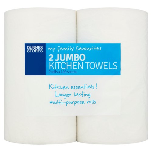 <b>Features</b><br/>Kitchen essentials!<br/>Longer lasting multi-purpose rolls<br/><br/><b>Recycling Info</b><br/>Card - Widely Recycled<br/>Film - Check Locally<br/><br/><b>Number of Units</b><br/>2<br/><br/><b>Safety Warning</b><br/>CAUTION<br/> - To avoid danger of suffocation keep this wrapper out of reach of babies and children.<br/> - Do not flush down the toilet.<br/><br/><b>Storage Type</b><br/>Ambient<br/><br/>Country of Origin - United Kingdom<br/>Packed In - United Kingdom<br/><br/><b>Origin</b><br/>Produced and packed in the U.K.<br/><br/><b>Company Name</b><br/>Dunnes Stores / Dunnes Stores (Bangor) Ltd.<br/><br/><b>Company Address</b><br/>Dunnes Stores,<br/> 46-50 South Great George's Street,<br/> Dublin 2.<br/> <br/> Dunnes Stores (Bangor) Ltd.,<br/> 28 Hill Street,<br/> Newry,<br/> Co. Down,<br/> BT34 1AR.<br/><br/><b>Return To</b><br/>Quality Guarantee<br/> Dunnes Stores is a brand of quality and better value since 1944. If you try and are not entirely satisfied with this Dunnes Stores product, please return the item with the original packaging and receipt to the store and we will be happy to replace or refund it for you.<br/> Dunnes Stores,<br/> 46-50 South Great George's Street,<br/> Dublin 2.<br/> <br/> Dunnes Stores (Bangor) Ltd.,<br/> 28 Hill Street,<br/> Newry,<br/> Co. Down,<br/> BT34 1AR.<br/><br/>