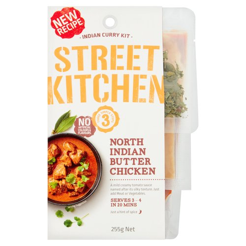 North Indian Butter Chicken<br/><br/><b>Features</b><br/>Three Simple Steps<br/>Serves 3 - 4 in 20 Mins<br/>Just a hint of spice - 1<br/>Also Great with Beef, Seafood or Vegetables<br/>No Artificial Colours & Flavours<br/><br/><b>Pack Size</b><br/>255g ℮<br/><br/><b>Allergy Advice</b><br/>Milk - Contains<br/>Cereals Containing Gluten - May Contain<br/><br/><b>Usage Other Text</b><br/>Servings per package: 4, Serving size: 64g<br/><br/><b>Usage Count</b><br/>Number of uses - Servings - 4<br/><br/><b>Ingredients</b><br/>Water<br/>Tomatoes<br/>Ginger<br/>Tomato Paste<br/>Garlic<br/><span style='font-weight: bold;'>Cream</span> [<span style='font-weight: bold;'>Milk Solids</span>, Vegetable Gum (Xanthan)]<br/>Sugar<br/>Spices<br/>Sunflower Oil<br/>Vinegar<br/>Salt<br/>Corn Starch<br/>Natural Colours (Paprika Extract, Curcumin)<br/>Food Acid (Citric Acid)<br/>Vegetable Gums (Xanthan, Guar)<br/>Natural Flavour [<span style='font-weight: bold;'>Milk Solids</span>]<br/>Herb Extract<br/><br/><b>Allergy Advice</b><br/>For allergens, see ingredient in <span style='font-weight: bold;'>bold</span>.<br/><br/><br/><b>Allergy Text</b><br/><span style='font-weight: bold;'>Contains Milk.May contain Gluten.</span><br/><br/><br/><b>Storage Type</b><br/>Ambient<br/><br/><b>Storage</b><br/>Store unopened in a cool dry location<br/><br/><b>Preparation and Usage</b><br/>You Will Need<br/> - 600g Diced Chicken<br/> - 2 Cups Basmati Rice<br/> - 2 tbsp Vegetable Oil<br/> <br/> Optional:<br/> - 2 tbsp Cream<br/> <br/> Cooking Instructions<br/> 1 Coat: Mix Garlic & Ginger paste through diced chicken pieces.<br/> 2 Sear: Flash fry spices from the pack in hot and well-oiled medium size saucepan for 5 seconds. Add chicken and cook for 2 minutes or until sealed on all sides.<br/> 3 Simmer: Add Butter Chicken sauce to pan, stir contents, reduce heat to low, cover pan with lid and simmer until meat is fully cooked (approx. 20 minutes). Serve immediately on a bed of Basmati rice.<br/> <br/> Optional: 
