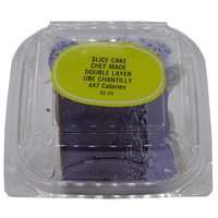 Double Layer Cake, Chef Made Ube Chantilly Cake, Slice, 4 Ounce