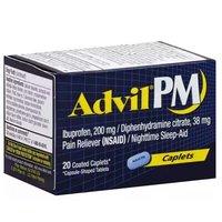 Advil Coated Caplets, Ibuprofen, Pm 200 Mg, 20 Each
