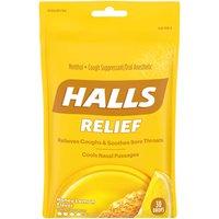 Halls Cough Suppressant Menthol Drops, Honey Lemon, 30 Each