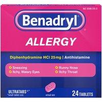 Benadryl Allergy Tablets, 25mg, 24 Each