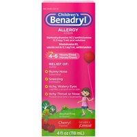 Children's Benadryl Antihistamine Allergy Liquid, Cherry, 4 Ounce
