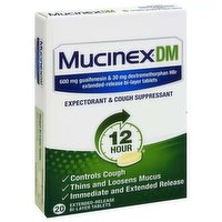 Mucinex Dm Expectorant & Cough Suppressant, 12 Hour, Extended-Release Bi-Layer Tablets, 20 Each