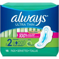 Always Pads with Wings, Ultra Thin, Long, 16 Each