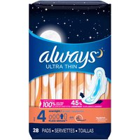 Always Ultra Thin Pads, Overnight Absorbency with Wings, Unscented, Size 4, 28 Each