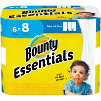 Bounty Essentials Select-A-Size Paper Towels, White, Big Rolls, 6 Each