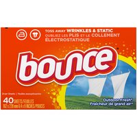 Bounce Fabric Softener Dryer Sheets, Outdoor Fresh, 40 Each