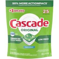 Cascade ActionPacs Dishwasher Detergent, Fresh Scent, 25 Each