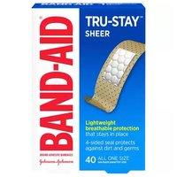 J&J Band-Aid Sheer Strips Adhesive Bandages, 40 Each