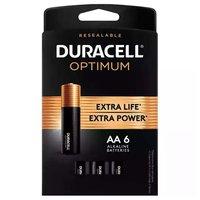 Duracell Optimum Batteries, Alkaline, AA, 6 Each