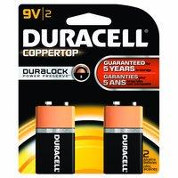 Duracell Coppertop Alkaline Battery, 9V, 2 Each