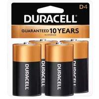 Duracell Coppertop Alkaline Battery, D, 4 Each