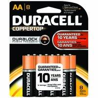 Duracell Coppertop Alkaline Battery, AA , 8 Each