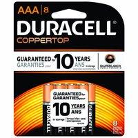 Duracell Coppertop Alkaline Battery, AAA (Pack of 8), 8 Each