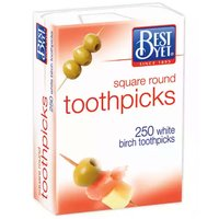 Best Yet Square Round Toothpicks, 250 Each