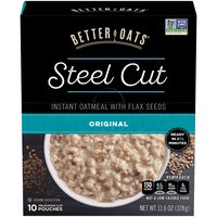Better Oats Steel Cut Instant Oatmeal with Flax Seeds, 11.6 Ounce