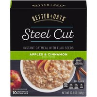 Better Oats Steel Cut Instant Oatmeal with Flax Seeds, Apples & Cinnamon , 12.3 Ounce