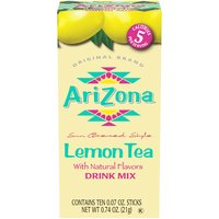 Arizona Iced Tea Powdered Drink Mix,  Lemon, 10 Each
