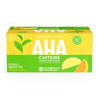 Aha! Citrus Green Tea Sparkling Water, Cans (Pack of 8), 12 Ounce