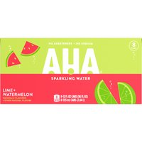Aha! Lime Watermelon Sparkling Water, Cans (Pack of 8), 12 Ounce