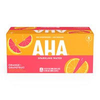 Aha! Orange Grapefruit Sparkling Water, Cans (Pack of 8), 12 Ounce