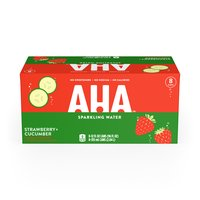 Aha! Strawberry Cucumber Sparkling Water, Cans (Pack of 8), 12 Ounce