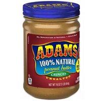 Adams Peanut Butter, Crunchy, Unsalted, 16 Ounce