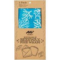 Maika'i Beeswax Food Wrap, Blue Coral, 3 Each