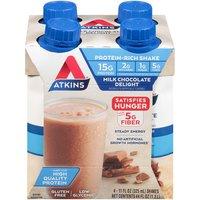 Atkins Advantage Rtd Shake Milk Chocolate Delight - 11 Fl Oz Each / Pack Of 4, 1.3 Litre