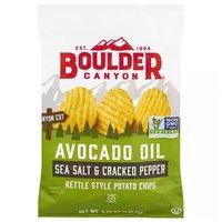 Boulder Canyon Avocado Oil Potato Chips, Sea Salt & Cracked Pepper, 5.25 Ounce