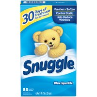 Snuggle Fabric Softener Dryer Sheets, Blue Sparkle, 80 Each