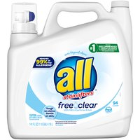 All 2x Liquid Detergent, Free & Clear, 141 Ounce