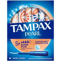 Tampax Pearl Tampons, Super Plus, Plastic, Unscented, 18 Each