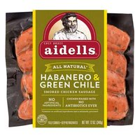 Aidells Chicken Sausage, Smoked, Habanero & Green Chile, 12 Ounce
