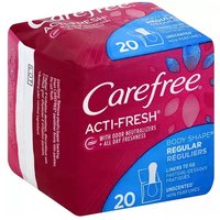 Carefree Acti-Fresh Regular Liners, Unscented, 20 Each