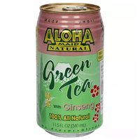 Aloha Maid Green Tea with Ginseng, Cans (Pack of 6), 11.5 Ounce