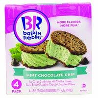 Baskin Robbins Ice Cream Sandwich, Mint Chocolate Chip, 4 Each