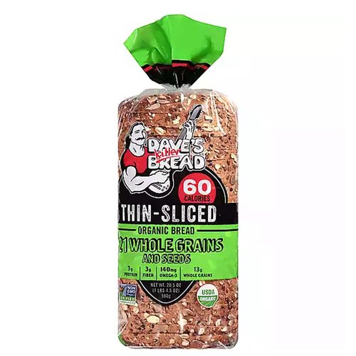 <ul> <li>Thin-Sliced</li> <li>70 Calories</li> <li>3 g Protein</li> <li>2 g Fiber</li> <li>140 mg Ala Omega-3</li> <li>12 g whole grains</li> <li>USDA Organic</li> <li>Non GMO Verified</li> </ul>