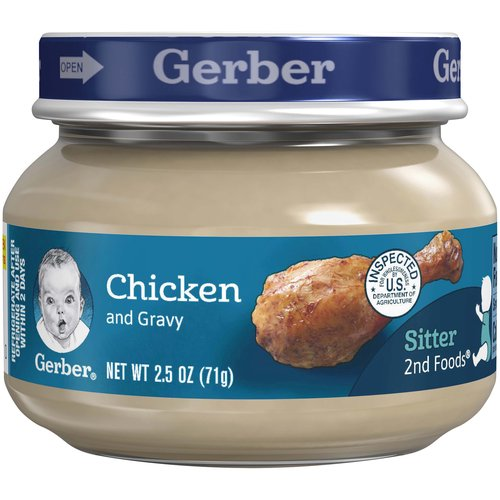 One (1) 2.5 oz jar  7 g of protein per jar  Meat and poultry are among the best food sources of Zinc and Iron for babies  No artificial flavors  Gerber is a leader in infant and early childhood nutrition. Have questions? We are awake when you are 24/7: 1-800-284-9488