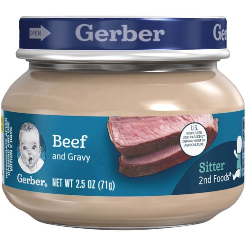 <ul> <li>One (1) 2.5 oz jar</li> <li>8 g of protein per jar</li> <li>Meat and poultry are among the best food sources of Zinc and Iron for babies</li> <li>No artificial flavors</li> <li>Gerber is a leader in infant and early childhood nutrition.  Have questions?  We are awake when you are 24/7: 1-800-284-9488</li> </ul>