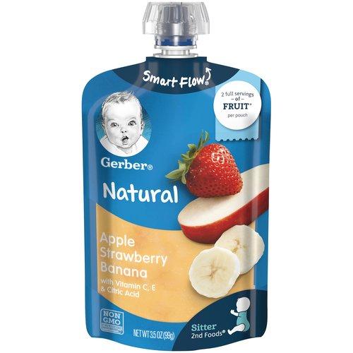 <ul> <li>One (1) 3.5 oz pouch</li> <li>More on your little one's spoon, less everywhere else</li> <li>Non-GMO Project Verified</li> <li>Each pouch has two 3 tbsp. servings of fruit for babies from 1/2 apple, 2 tsp. banana, 3/4 strawberry and 1/10 banana</li> <li>Head to MyGerber.com to meet Dotti, your on-call personal baby expert, or call us anytime 24/7 at 1-800-284-9483</li> </ul>