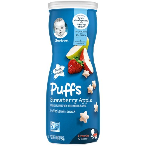 <ul> <li>One (1) 1.48 oz container of Gerber Graduates Strawberry Apple Puffs</li> <li>Melt-in-your-mouth texture specially designed to dissolve quickly</li> <li>Star-shaped with ridges, making them easy for little ones to pick up</li> <li>Non-GMO: Not made with genetically engineered ingredients</li> <li>Gerber is a leader in infant and early childhood nutrition.  Have questions?  We are awake when you are 24/7: 1-800-284-9488</li> </ul>