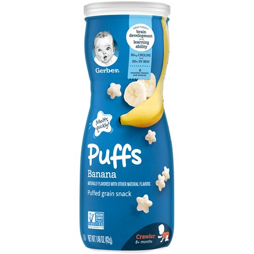 One (1) 1.48 oz container of Gerber Graduates Banana Puffs  Melt-in-your-mouth texture specially designed to dissolve quickly  Star-shaped with ridges, making them easy for little ones to pick up  Non-GMO: Not made with genetically engineered ingredients  Gerber is a leader in infant and early childhood nutrition. Have questions? We are awake when you are 24/7: 1-800-284-9488